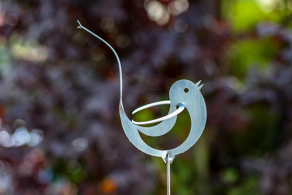 Bird, Aluminium, Figure, Garden, Leaves, Ornament