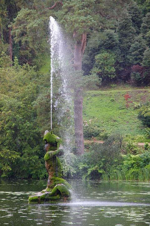 Fountain, Powerscourt, Ireland, Lake, Garden, Water