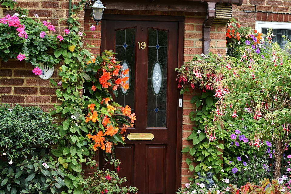 Front Door, Red Brick, Entrance, Garden, Flowers