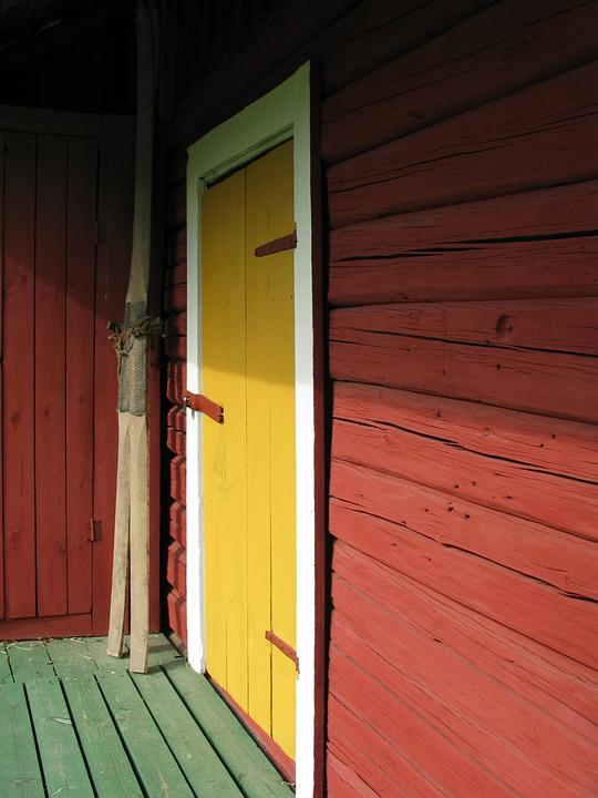 Garden Shed, Porch, Skis, Door, Hut, Perspective