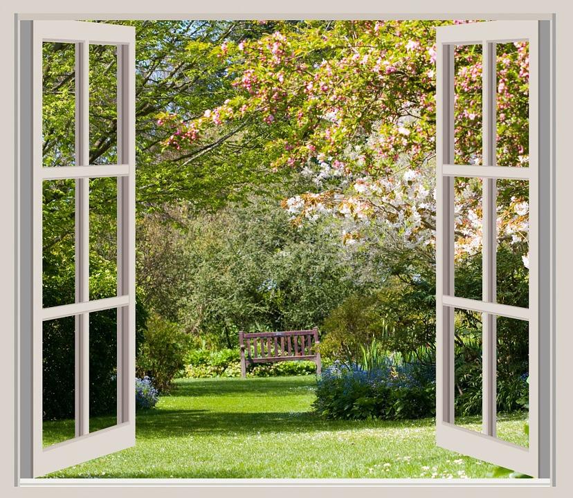 Spring, Garden, View, Window, Open, Trees, Blossom