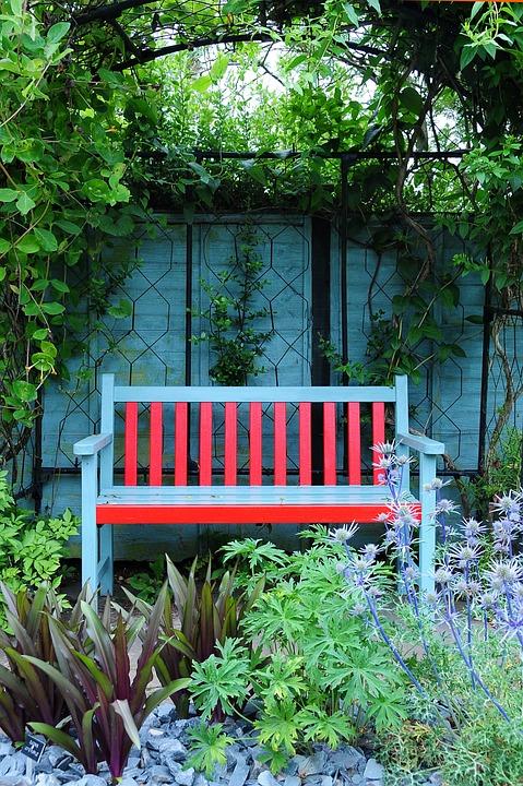 Garden, Bench, Garden Terrace, Park Bench, Colors