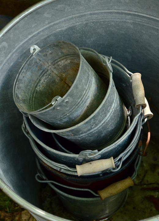 Sheet, Metal Bucket, Old, Stack, Vessels, Garden, Used