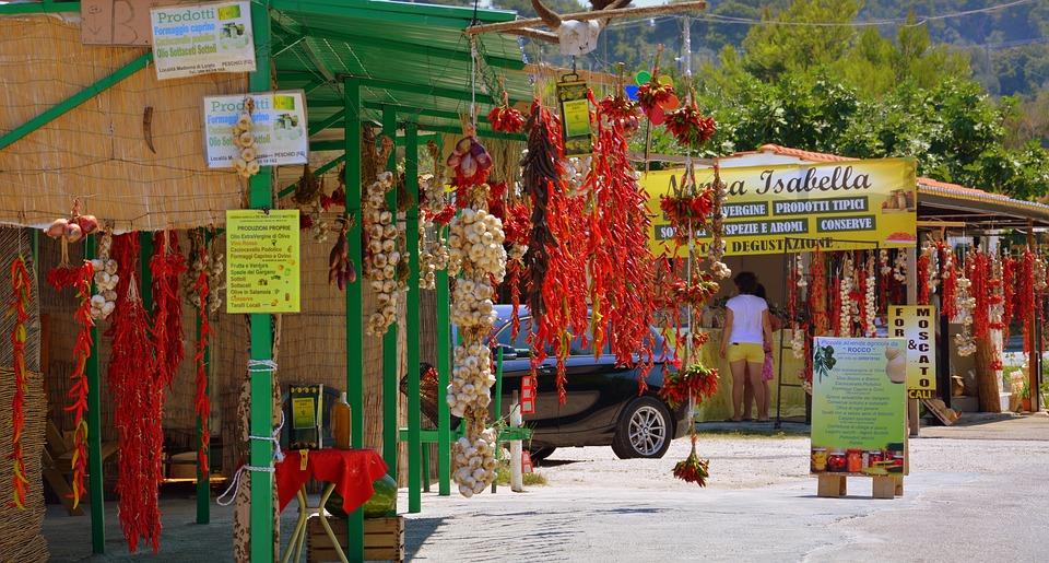 Chilli Peppers, Garlic, Shops, Road, Sale, Gargano