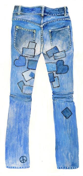 Jeans, Pants, Blue Jeans, Garment