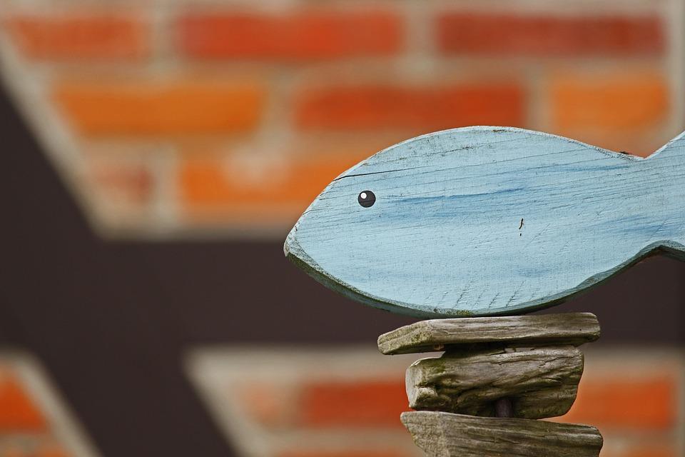 Holzdeko, Gartendeko, Wood Fish, Truss, Garden