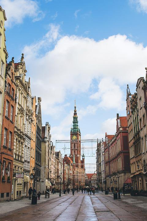 City, Architecture, Blue, Building, Clouds, Gdansk