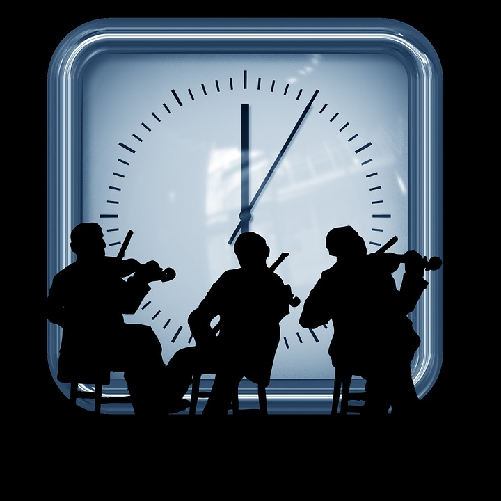 Clock, Geiger, Minutes, Violin, Silhouettes, Seconds