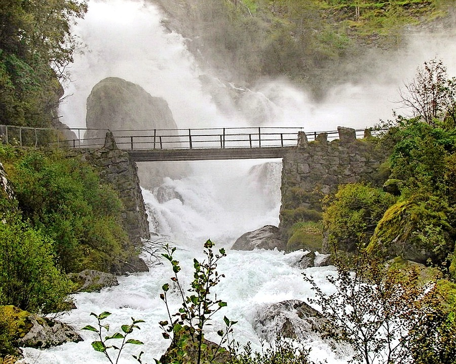 Bridge, Geirangerfjord, Waterfall, Landscape, Flowing