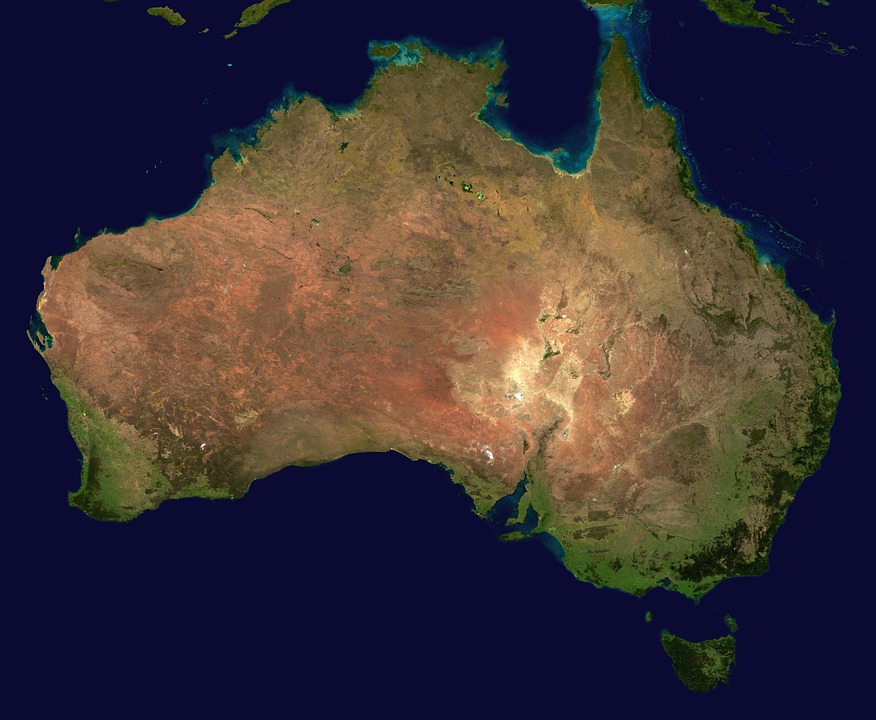 Australia, Continent, Aerial View, Geography, Map