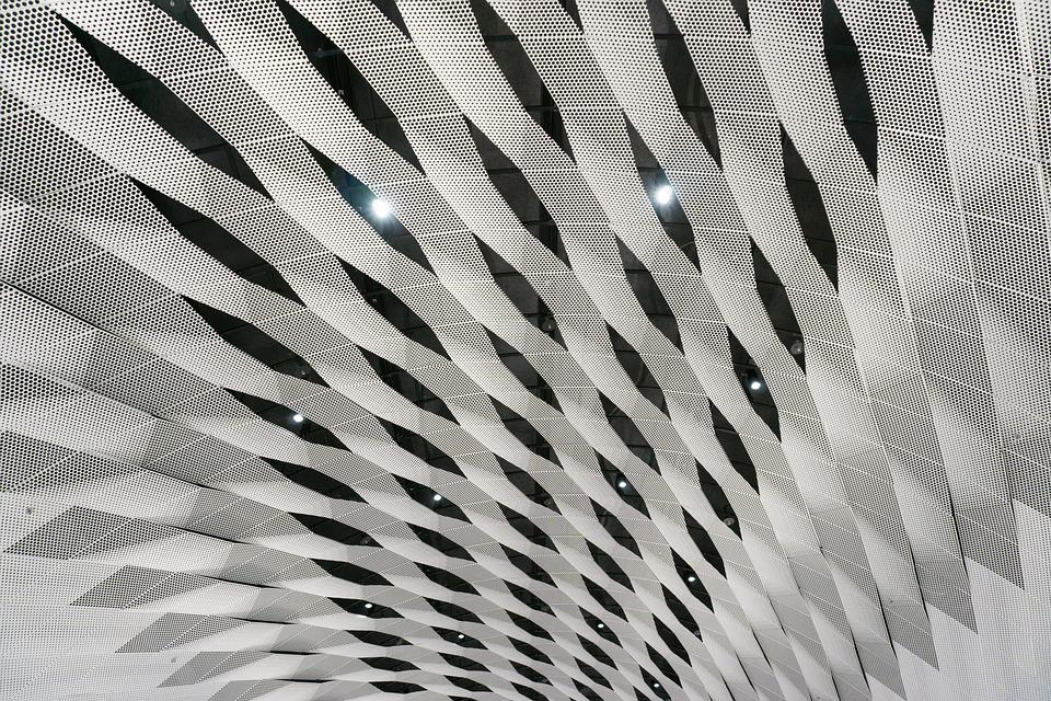 Pattern, Ceiling, Steel, Geometric, Futuristic, Decor
