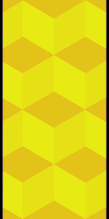 Cube, Pattern, Yellow, Modern, Geometric, 3d