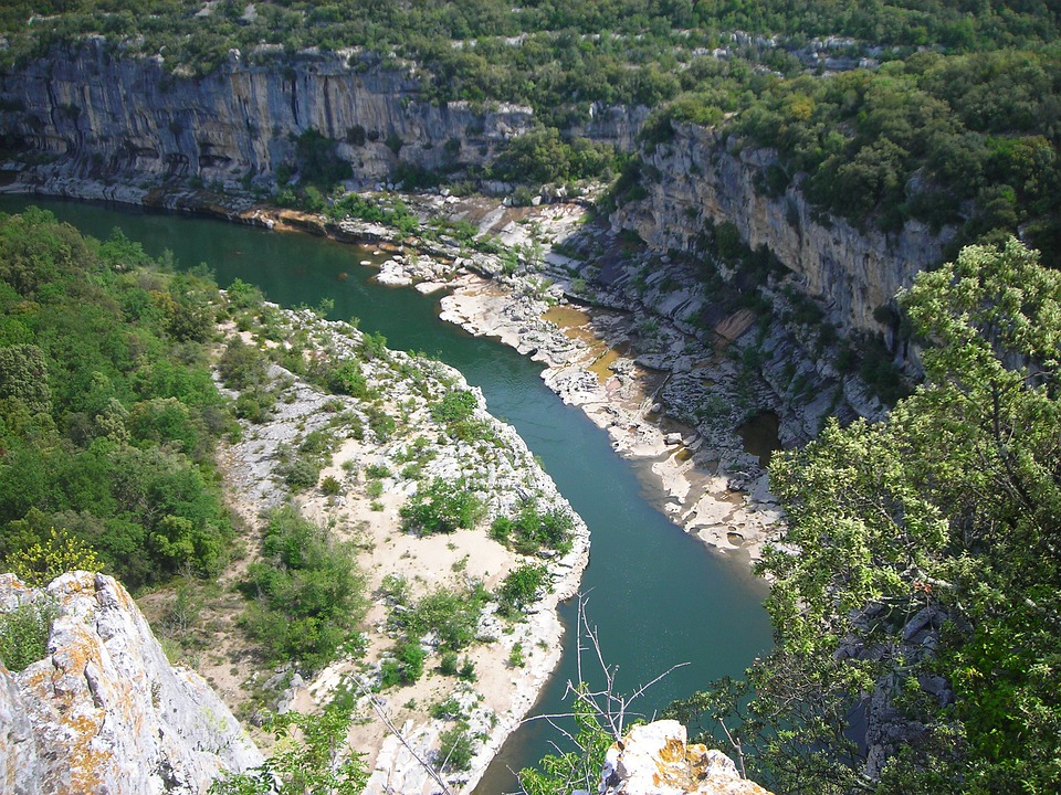 Ardeche, River, France, Aerial View, Bend, George