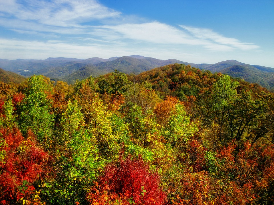 Georgia, Usa, Autumn, Fall, Mountains, Sky, Clouds