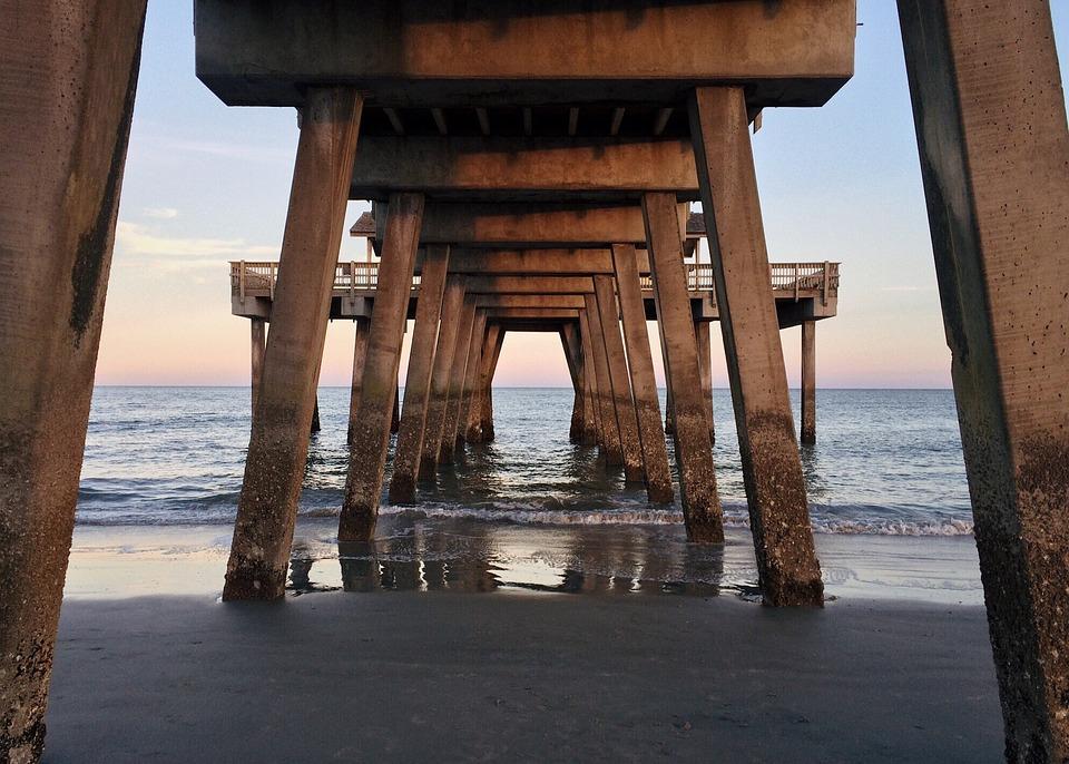 Pier Beach, Ocean, Water, Coast Tybee Island, Georgia