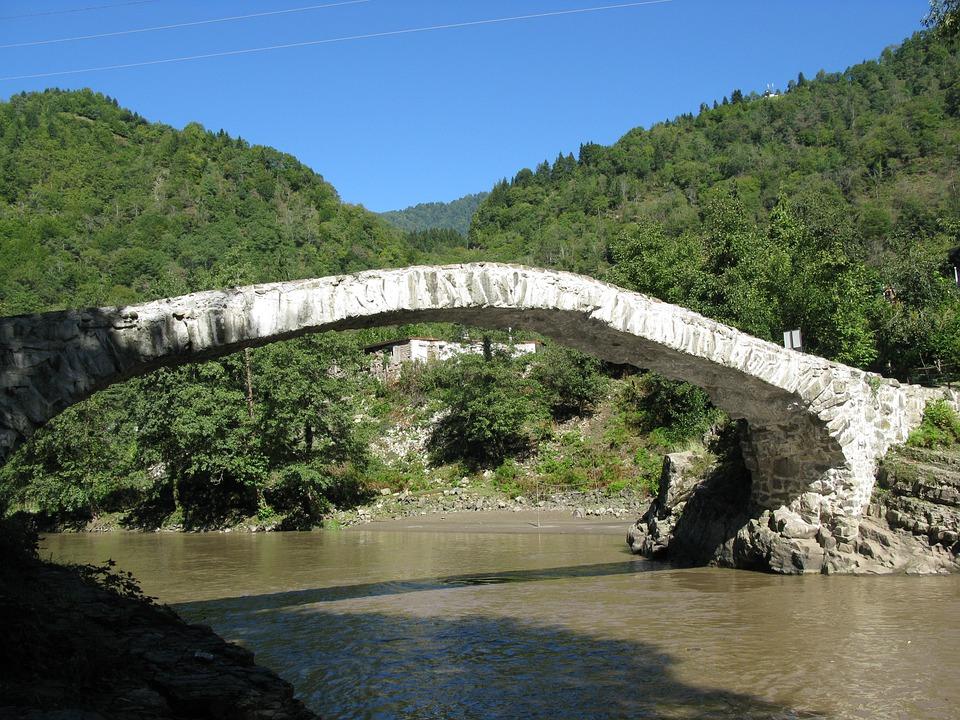 Bridge, River, Mountains, Nature, Landscape, Georgia