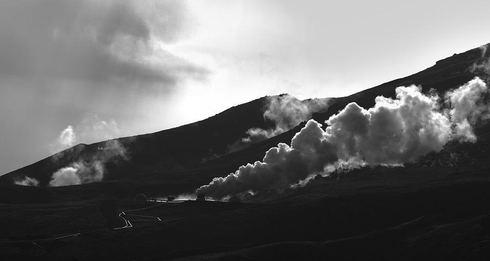 Steam, Island, Nature, B W, Black, White, Geothermal