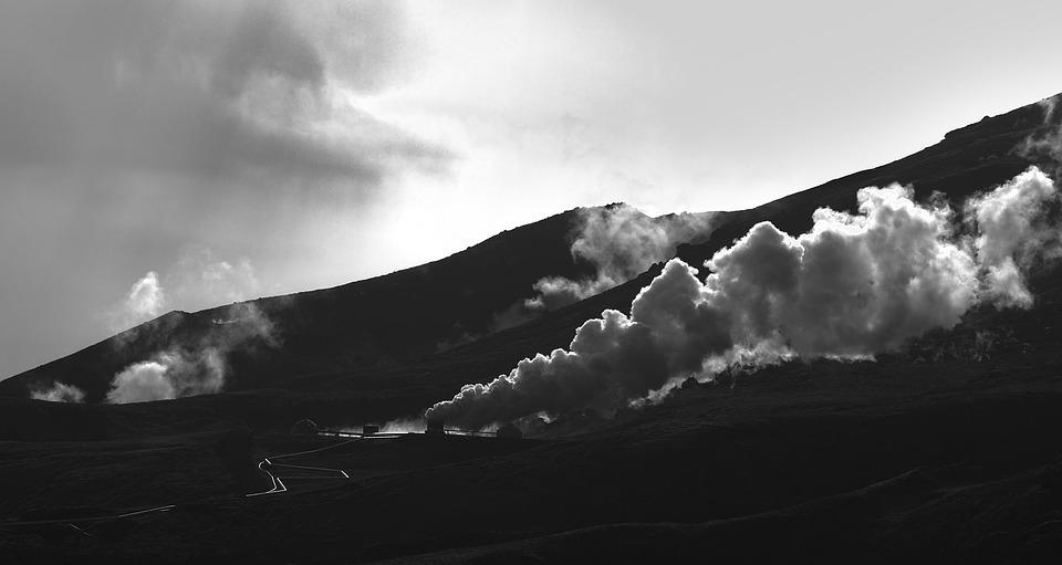 Steam, Island, Nature, B W, Black, White, Geothermal