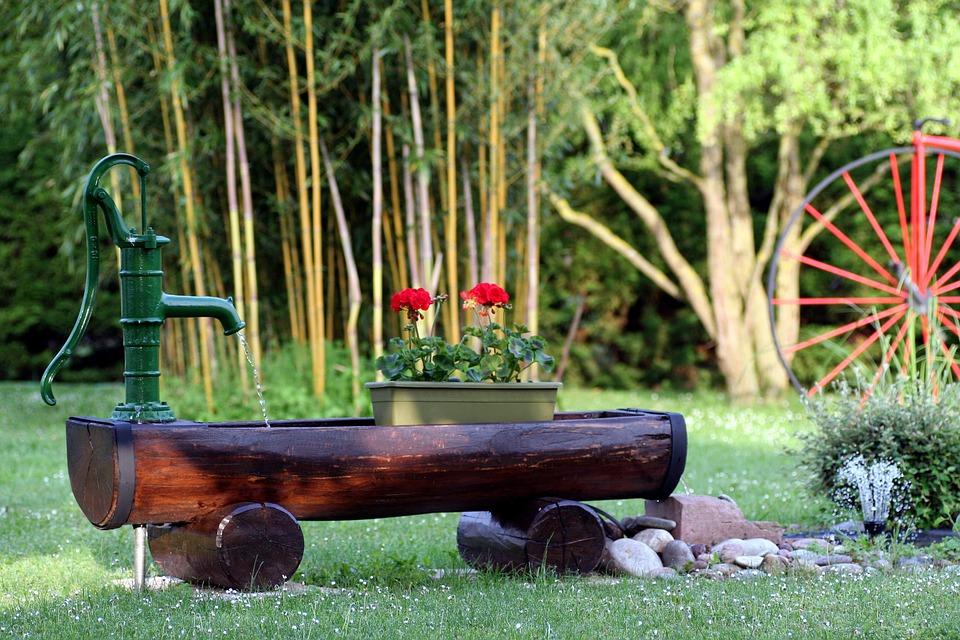 Garden, Geraniums, Spring, Bamboo, Fountain, Alsace