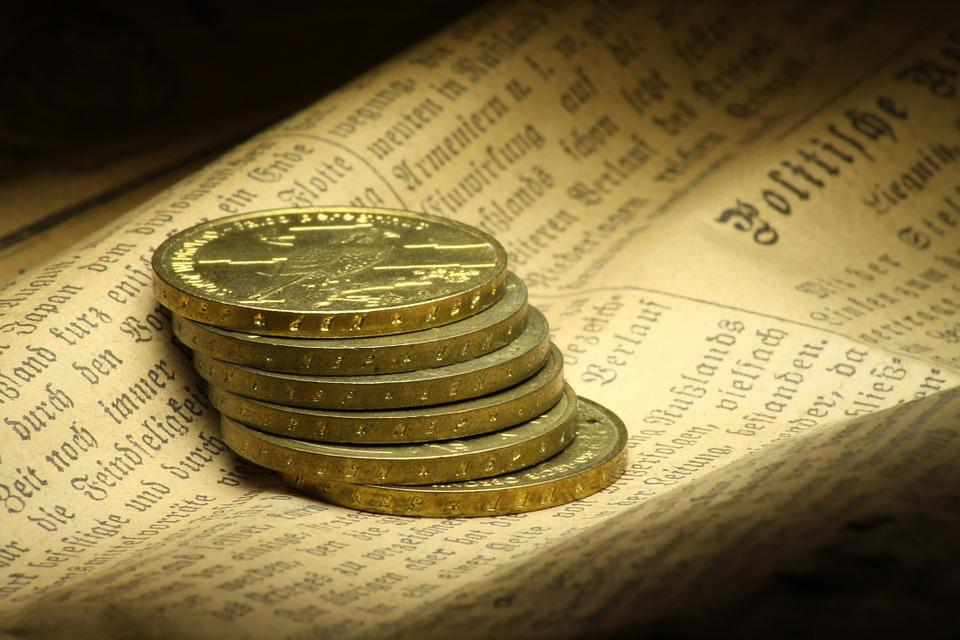 Coins, Newspaper, Monument, Writing, Book, German, Old