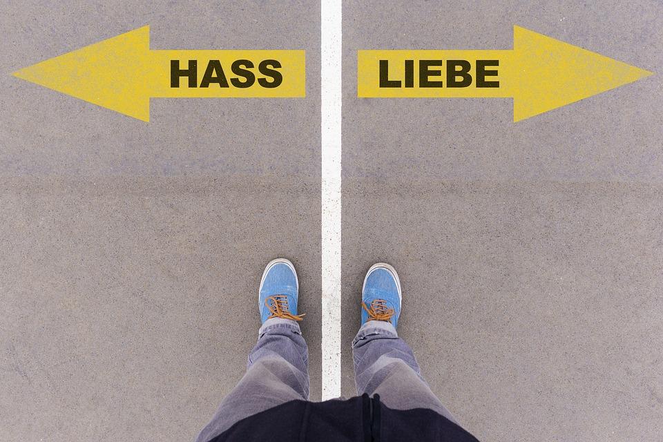 Love, Hate, German, Text, Language, Written, Letters