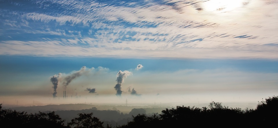 Industry, Sunrise, Clouds, Fog, Germany, Factory, Home