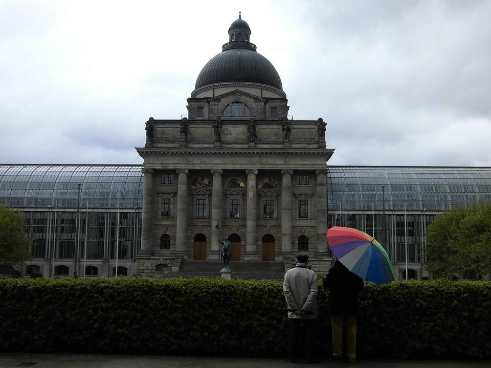 Germany, Umbrella, Old, Friends, Rain, Adorable, Colors