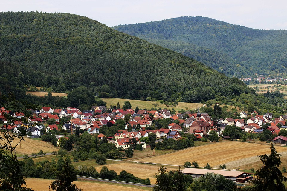 Village, View, Hill, Germany, Forest, Traditional