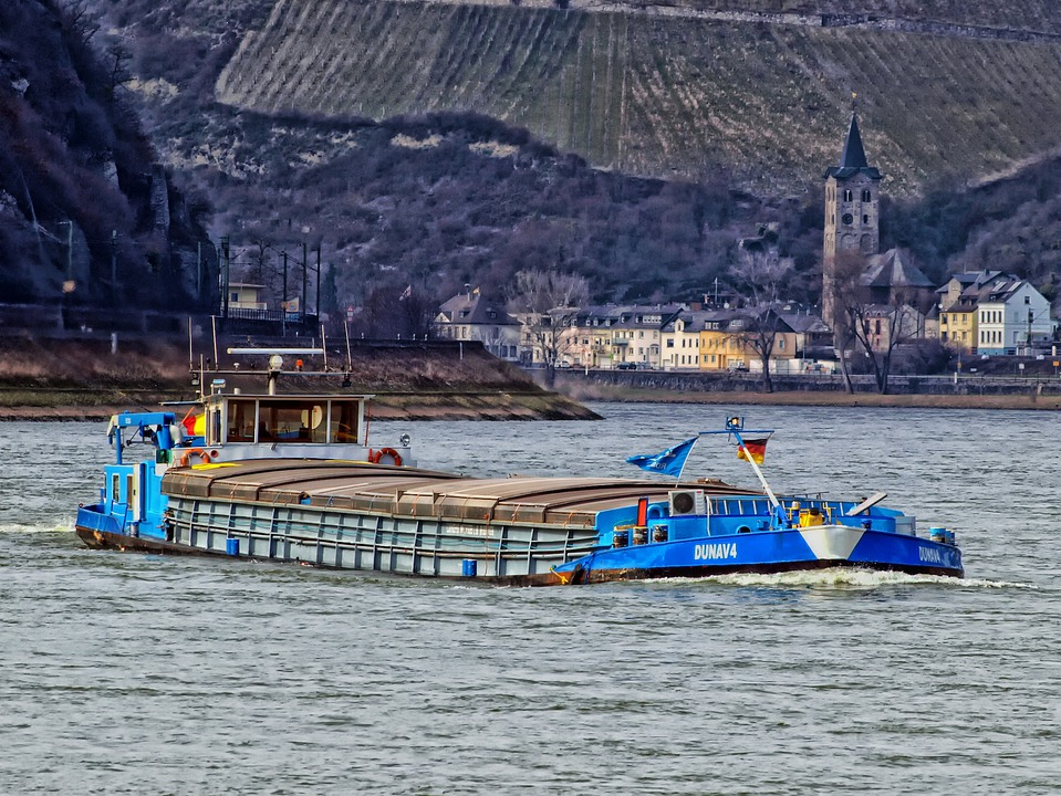 Rhine River, Germany, Ship, Barge, Boat, Mountains