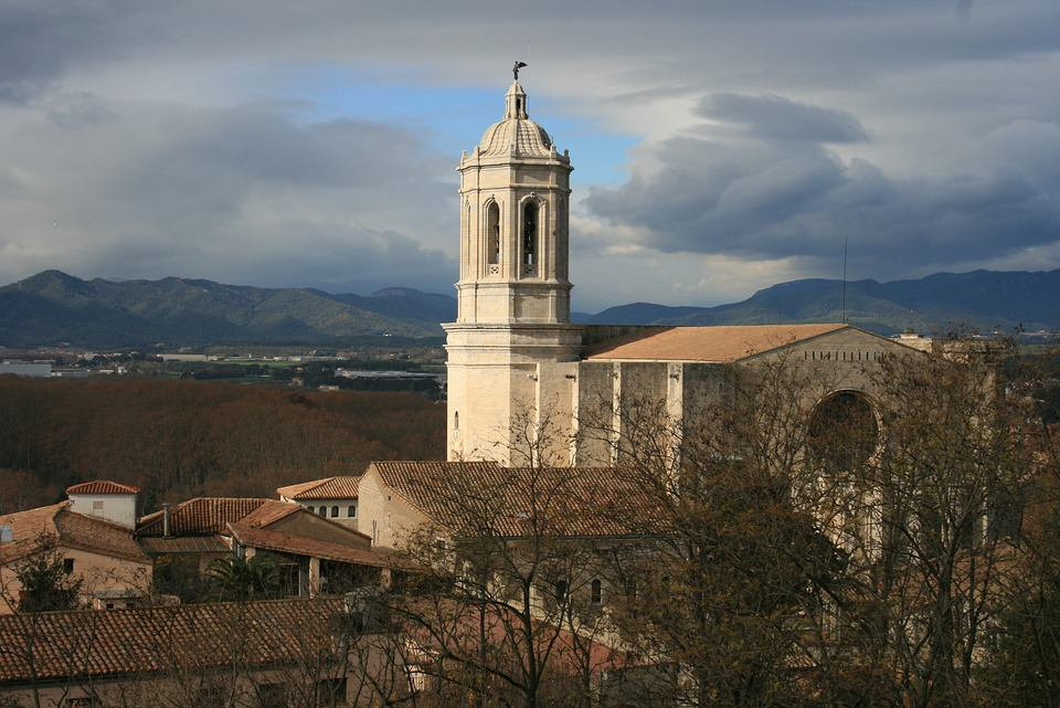 Gerona, Girona, Church, Cathedral, Architecture, Sky
