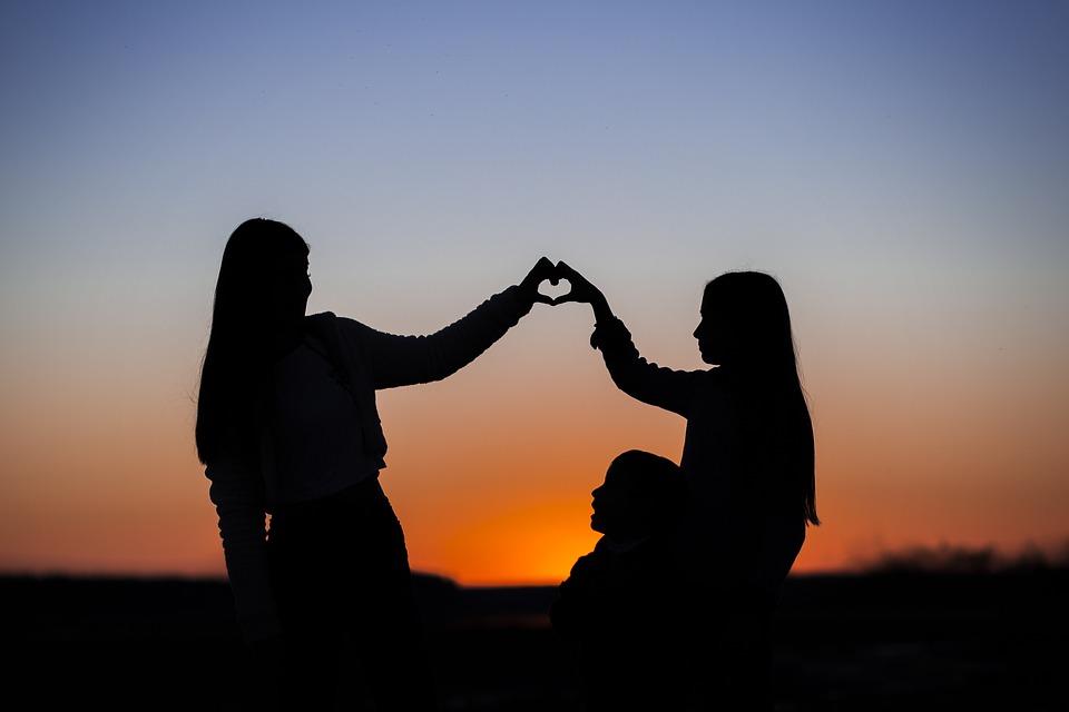 Sisters, Heart, Sunset, Sunrise, Silhouette, Gesture