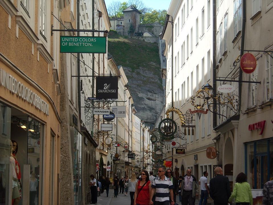 Salzburg, Austria, Getreidegasse, Tourism, City Stroll