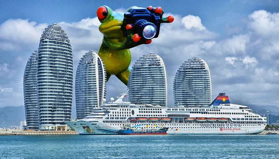 frog photographer giant funny cruise ship ship