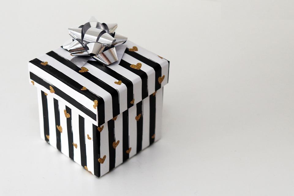 Gift, Christmas, Birthday, Gift Packaging, White, Black