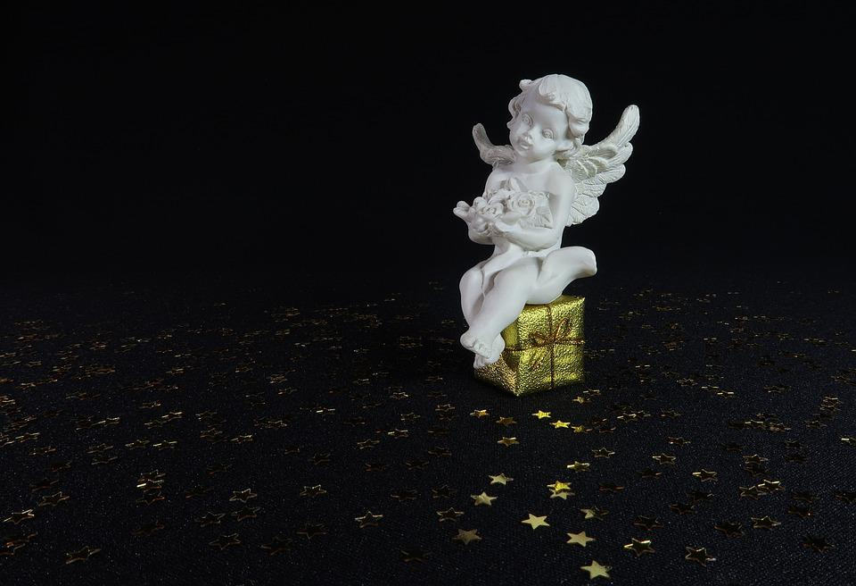Angel, Dear, Flowers, Gift, Black, White, Gold, Star