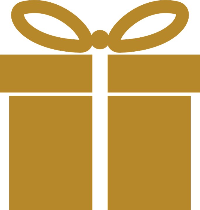 Gold, Icon, Present, Gift, Wrapped, Christmas, Holiday
