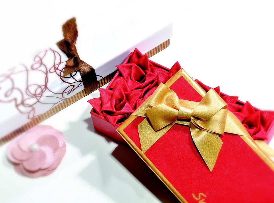 Gift, Ribbon Flower, Golden Ribbon