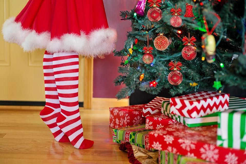 Christmas Tree, Santa, Woman, Decoration, Gifts