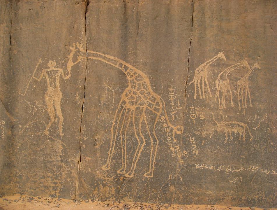Sahara, Tassili, Cave Paintings, Prehistory, Giraffes