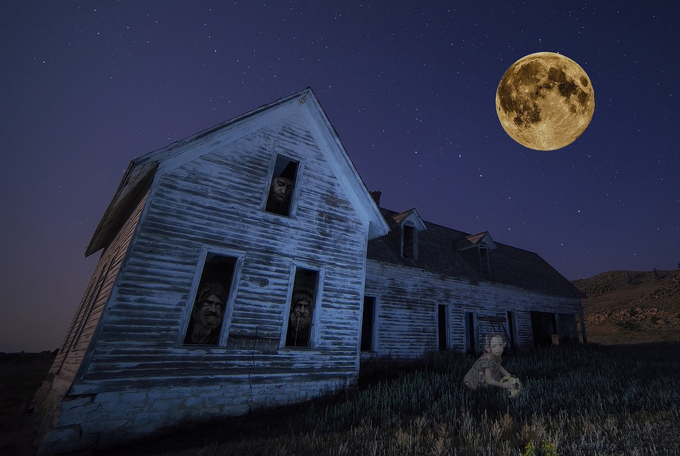 Haunted House, Moon, Stars, Ghost, Girl, Abandoned