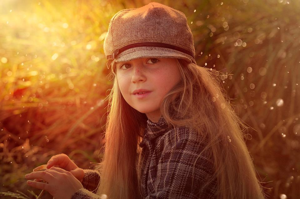 Child, Girl, Face, Cap, Autumn, Sunset