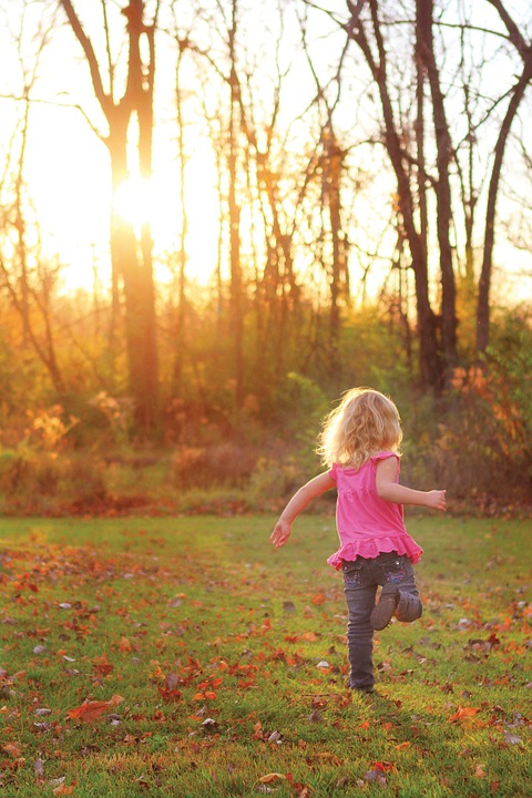 Girl, Child, Running, Playing, Autumn, Trees, Field