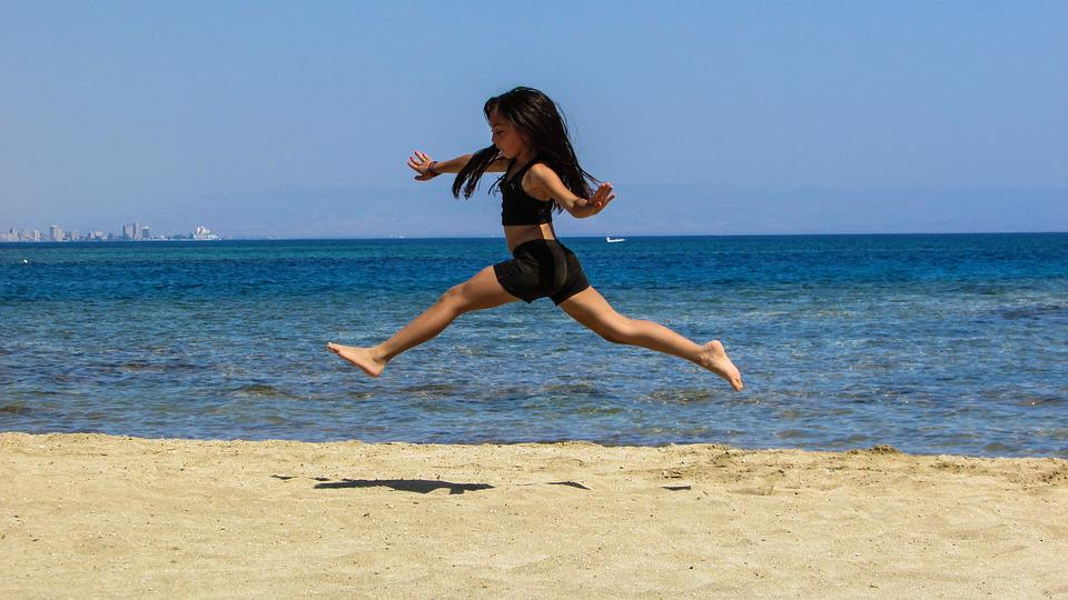 Girl, Sea, Beach, Summer, Jumping, Running, Fun, Happy