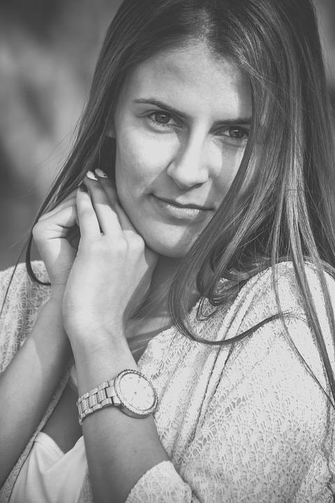 Girl, Portrait, Smile, Beauty, Black And White, About