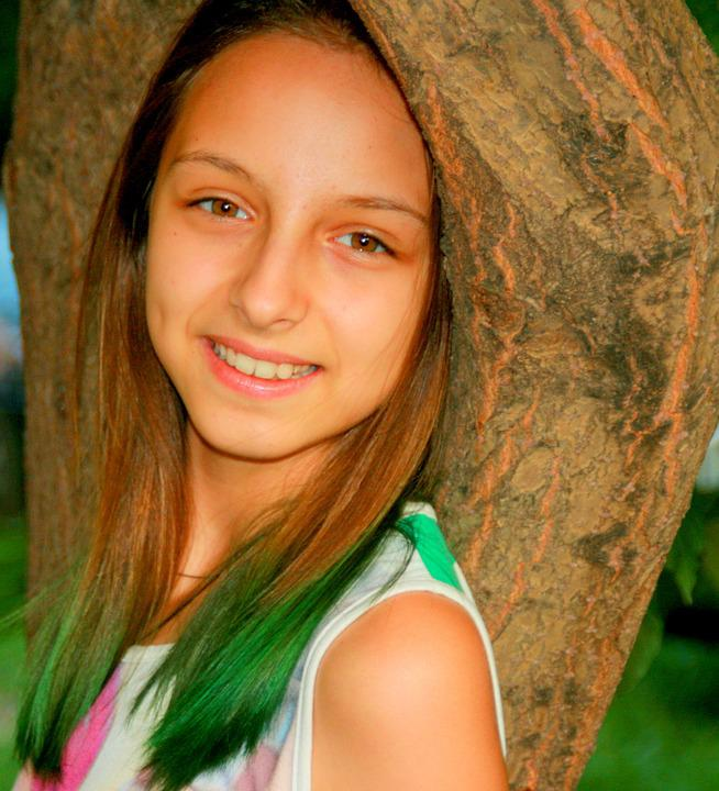Girl, Portrait, Green, Beauty, Smile, Grass
