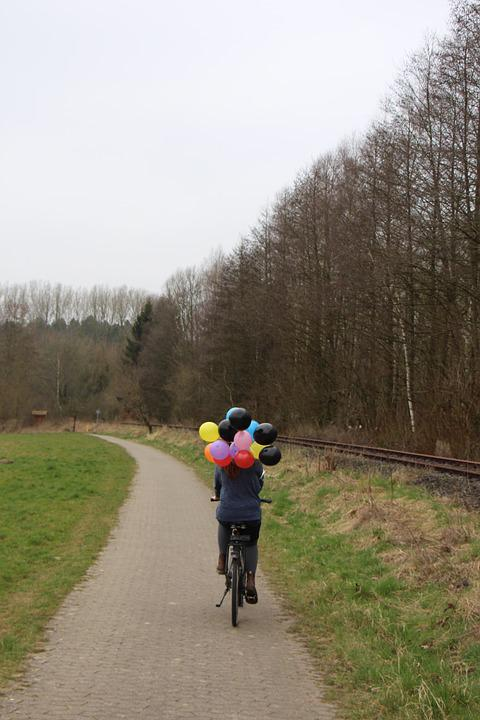 Girl, Balloons, Nature, Bike