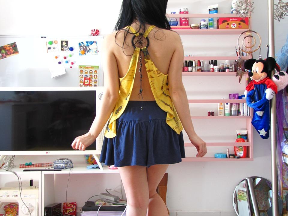 Cute, Girl, Skirt, Legs, Black Hair, Hair, Curly Hair