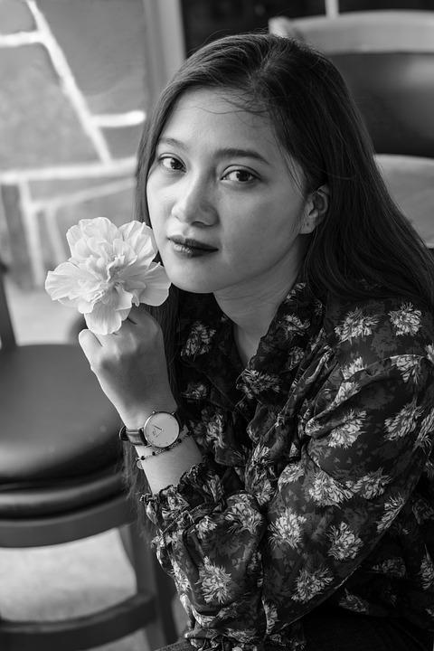 Girl, Black-white Photograph