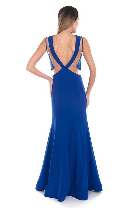 Blue, Dress, Stylish, Fashion, Woman, Girl, Young