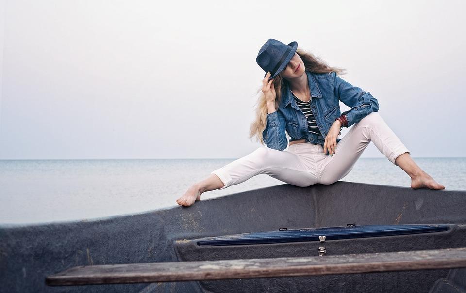 Girl, One, Boat, Horizon, Summer, Sea, Hat, Sky, Wind